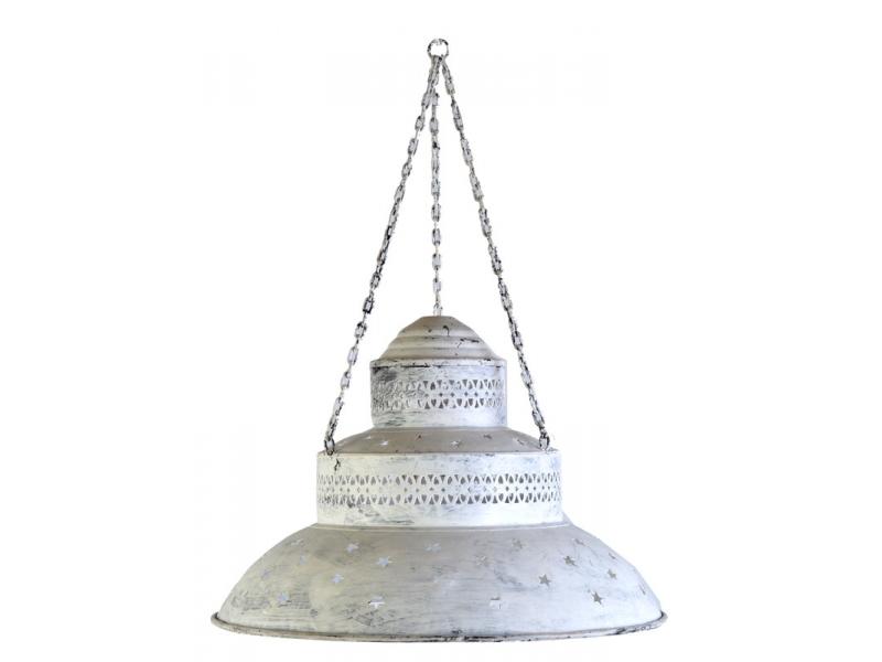 Kovová lampa v orientálním stylu, bílá patina, průměr 50cm