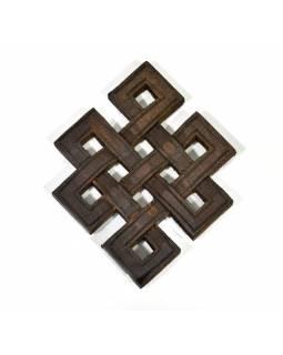 Dřevěná dekorace, Nekonečný uzel, přírodní, 10x13cm