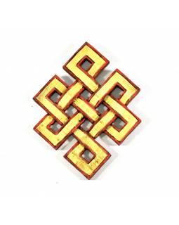 Dřevěná dekorace, Nekonečný uzel, malovaný, 10x13cm