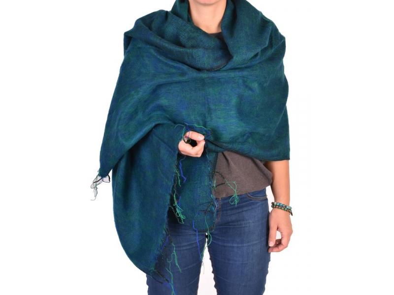 """""""Tibetský šál"""", zeleno- modrý melír, acrylic, 200x80cm"""