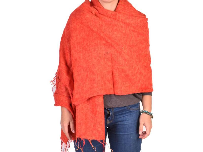 """""""Tibetský šál"""", červeno-oranžový melír, acrylic, 200x80cm"""