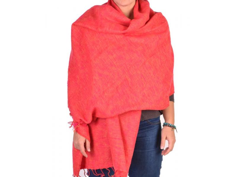 """""""Tibetský šál"""", růžovo-oranžový melír, acrylic, 200x80cm"""
