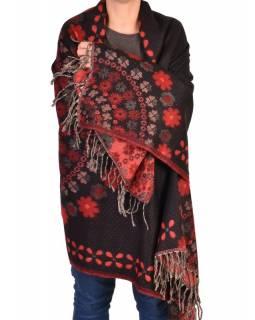 Šál - Mandala s květinovým vzorem, černo-červený, 205x95cm