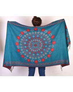 Šál - Mandala s květinovým vzorem, červeno-zelený, 205x95cm