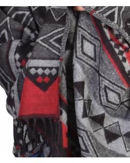 Šál - Geometrický vzor, černo-červený, 210x95cm