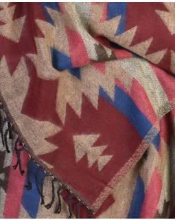 Šál - Aztecký vzor, vínovo-béžový, 210x95cm