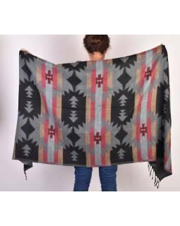 Šál - Aztecký vzor, šedo-černý, 210x95cm