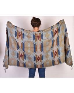 Šál - Aztecký vzor, modro-béžový, 210x95cm