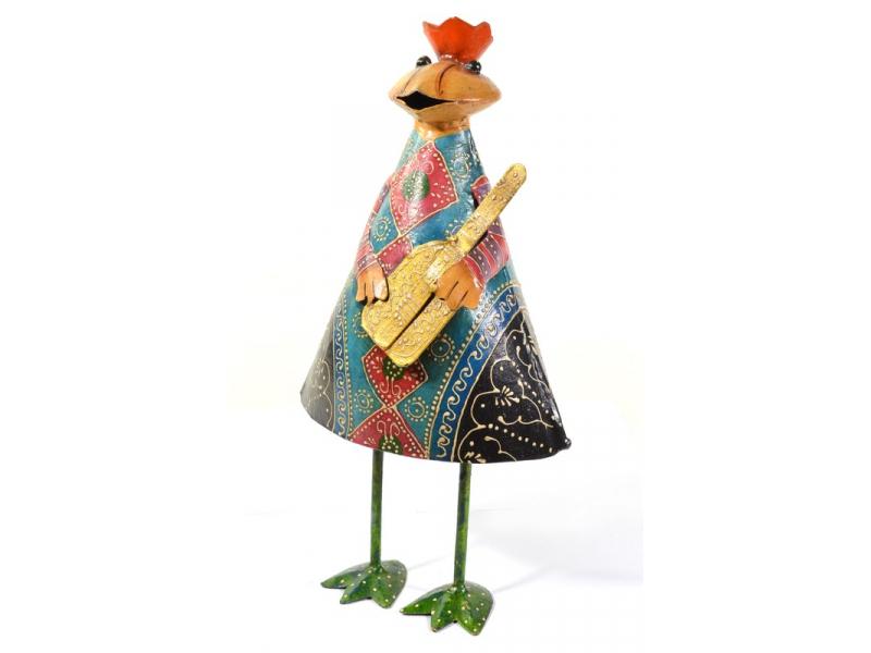 Žába s kytarou, ručně malovaná, kovová, stojící 18x34cm