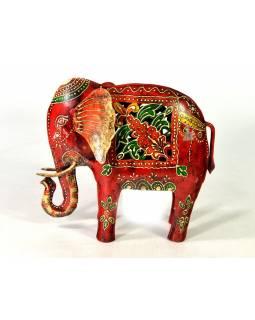 Ručně malovaný svícen, červený slon, 27x25cm