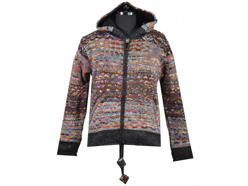 Unisex vlněný svetr s kapucí a kapsami, šedý