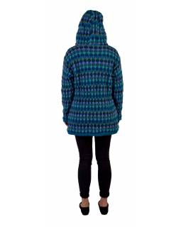 Prodloužený vlněný svetr s kapucí a kapsami, tyrkysový