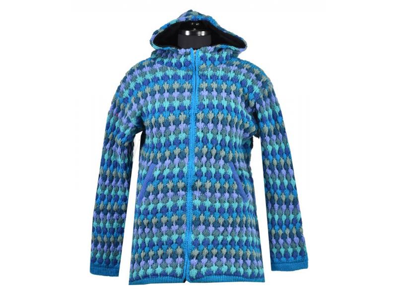 Prodloužený vlněný svetr s kapucí a kapsami, tyrkysová