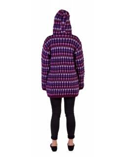 Prodloužený vlněný svetr s kapucí a kapsami, fialová