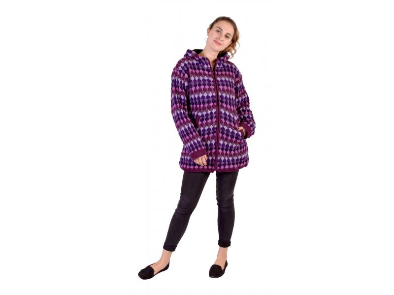 Prodloužený vlněný svetr s kapucí a kapsami, fialový