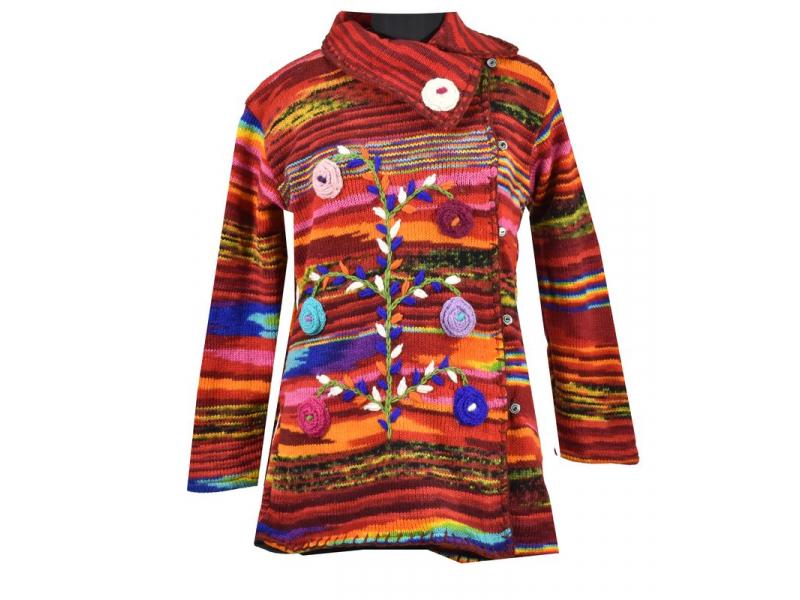 Prodloužený vlněný svetr s kapucí a kapsami zapínaný na knoflíky, květiny