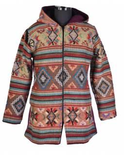 Vínovo-barevný kabát s vlněným vzorek a kapucí, zip, kapsy
