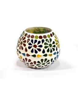 Lampička, skleněná mozaika, kulatá, průměr 9cm, výška 8cm