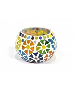 Lampička, skleněná mozaika, kulatá, průměr 9cm, výška 6cm