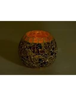 Lampička, skleněná mozaika, kulatá, průměr 10cm, výška 8cm