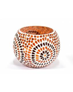 Lampička, skleněná mozaika, kulatá, průměr 15cm, výška 11cm