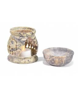 Kamenná aromalampa, ručně prořezávaná, sloni, 8x8x10cm