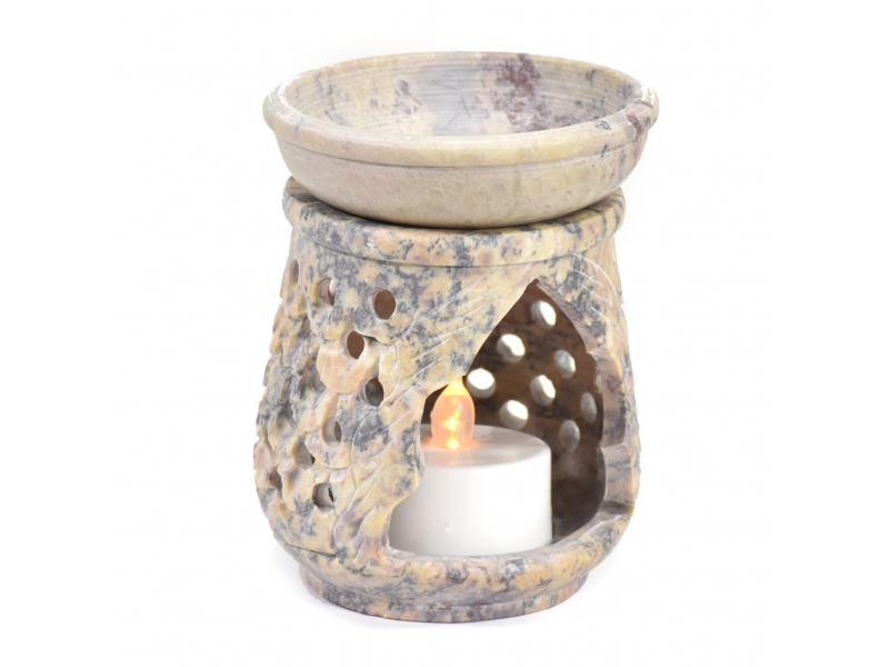 Kamenná aromalampa, ručně prořezávaná, 7x7x9cm