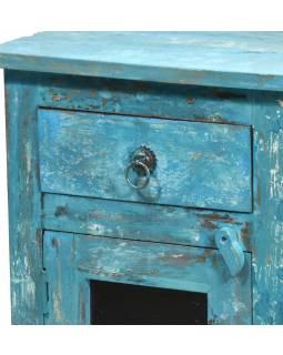 Komoda/noční stolek, tyrkysová patina, 40x30x60cm