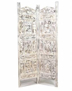 Paravan, bílý antik, vyřezávný, mango, 2 pole, 100x3x180cm