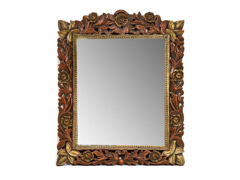 Zrcadlo v rámu z mangového dřeva, ručně vyřezané, 52x2x63cm