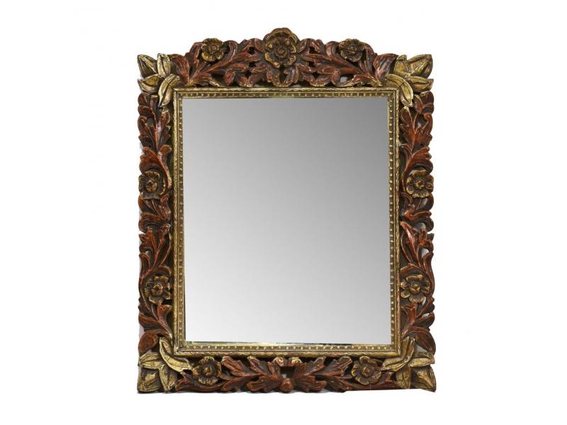 Zrcadlo v rámu z mangového dřeva, ručně vyřezané, 52x2x64cm