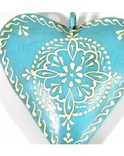 Závěsná dekorace - tyrkysové ručně malované srdce, kov, 11x3x11cm