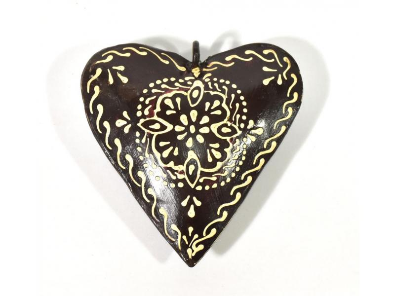 Závěsná dekorace - černé ručně malované srdce, kov, 10x3x10cm