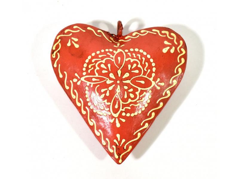 Závěsná dekorace - oranžové ručně malované srdce, kov, 10x3x10cm