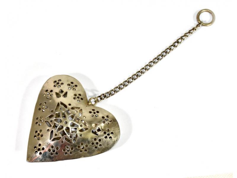 Závěsná dekorace - ručně vyřezané srdce, kov, 11x3x12cm