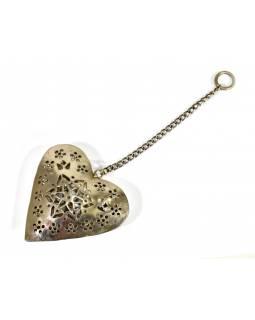 Závěsná dekorace - ručně malované srdce, kov, 11x3x12cm