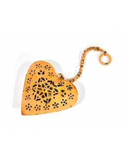 Závěsná dekorace - ručně malované oranžové srdce, kov, 11x3x12cm