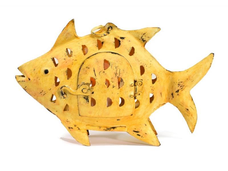 Svícen, žlutá ryba, 27x3x20cm