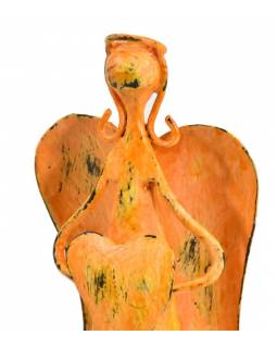 Kovová soška anděla, oranžová, 9x7x18cm