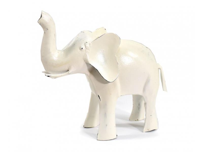 Kovová soška slona, bílá patina, 21x8x17cm
