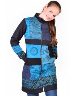 Patchworkový kabát s zapínaný na zip, kombinace tisků, tyrkysovo-šedo-zelená