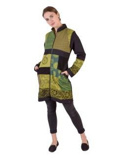 Patchworkový kabát s zapínaný na zip, kombinace tisků, zeleno-šedo-černá