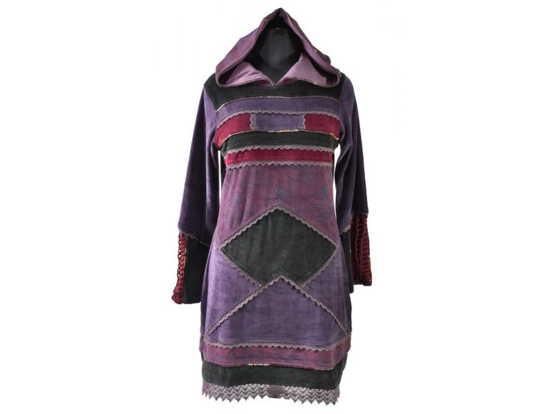 Fialové sametové mikinové šaty s kapucí a barevnými aplikacemi,