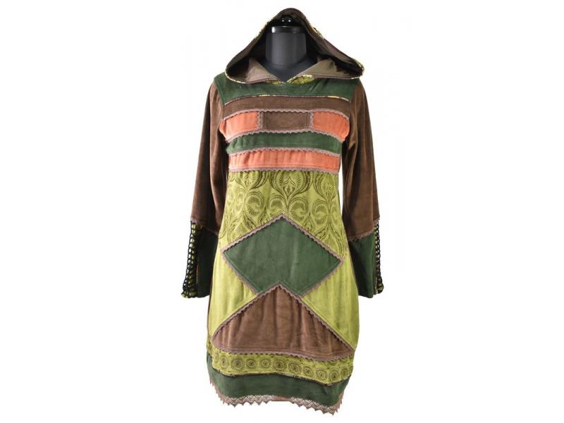 Zelené sametové mikinové šaty s kapucí a barevnými aplikacemi,