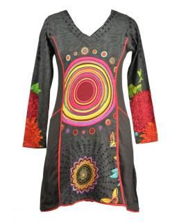 Šedé šaty s dlouhým rukávem, Mandala potisk, kapsy