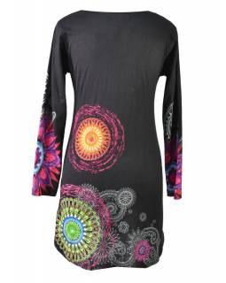 Černé šaty s dlouhým rukávem, Mandala potisk, kulatý výstřih