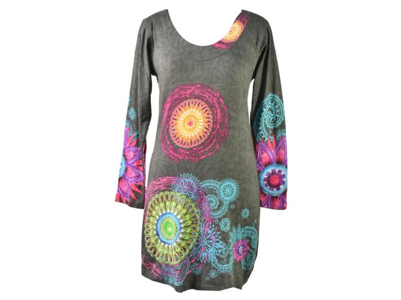 Šedé šaty s dlouhým rukávem, Mandala potisk, kulatý výstřih