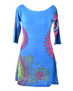 Tyrkysové šaty s tříčtvrtečním rukávem a lodičkovým výstřihem, mandala potisk