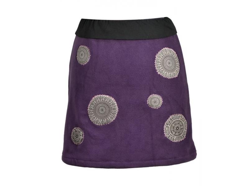 Krátká švestková sukně s chakra aplikacemi a pružným pasem