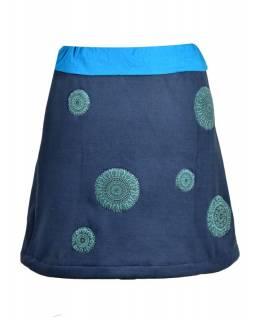 Krátká tmavě modrá sukně s chakra aplikacemi a pružným pasem
